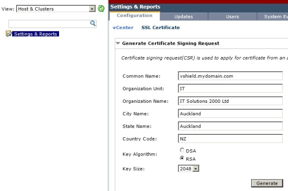Generate vShield Manager CSR