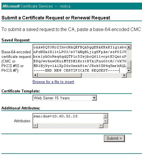 Generate vShield Manager Certificate using Windows 2003 CA