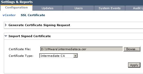 Import Intermediate CA Certificate to vShield Manager